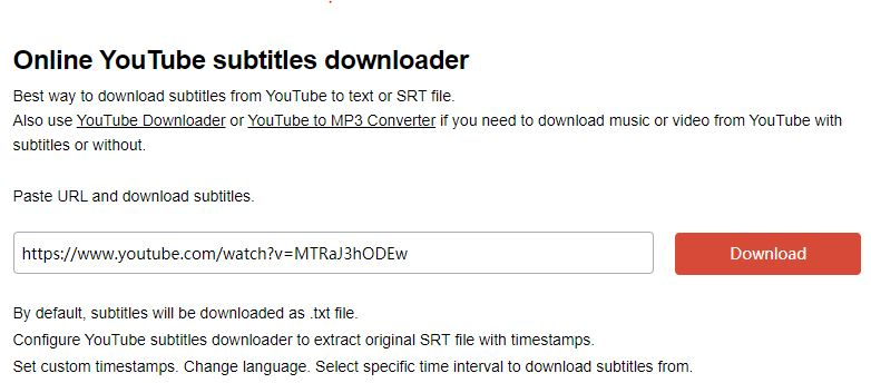 download subtitle from Youtube