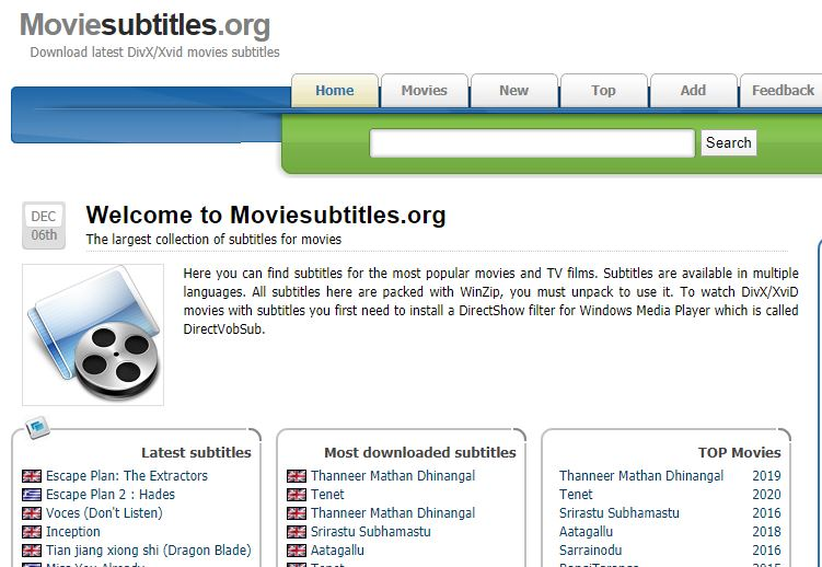 Moviesubtitles website